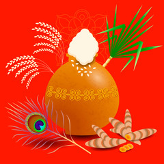Pongal Hindu harvest festival in India and Sri Lanka. The concept of the event. Ceramic pot kolam with boiled rice. Peacock feather, Plants Sugarcane, turmeric, rice, ornament.