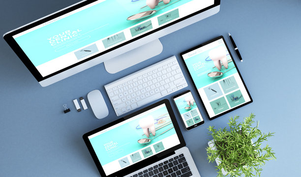 top view blue devices dental clinic website