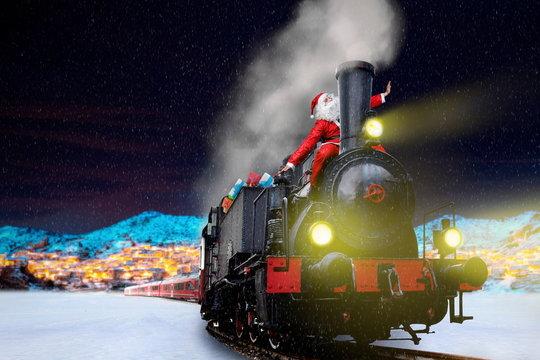 funny santa on vintage christmas train