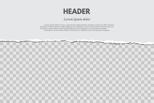 Torn paper with shadow isolated on grunge red and transparent background. Vector design template.