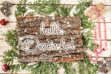 HELLO DECEMBER handwritten inscription. Winter holiday compositi