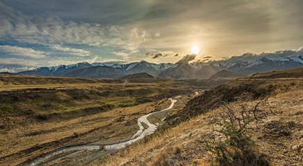 Cave Stream Scenic Reserve during sunset, South Island, New Zealand Wall mural