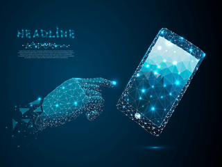 Mobile phone. Vector polygonal wireframe closeup mobile phone with gradient blue screen with man hand and fingers. Illustration dark blue background. Communication app smartphone concept