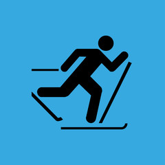 man on skiing icon. flat design