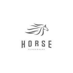 Fast speed horse logo design vector. Horse logo template