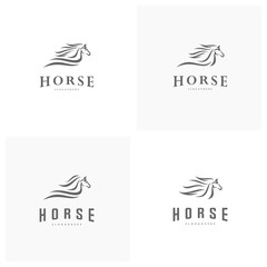 Set of Fast speed horse logo design vector. Horse logo template