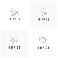 Set of Pegasus Vector Logo Template. Horse logo template