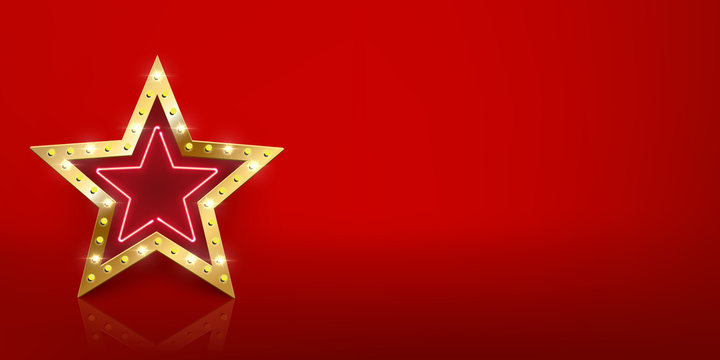 Shiny golden star sign with light bulbs and neon with mirror reflection on red background. Vector design template.