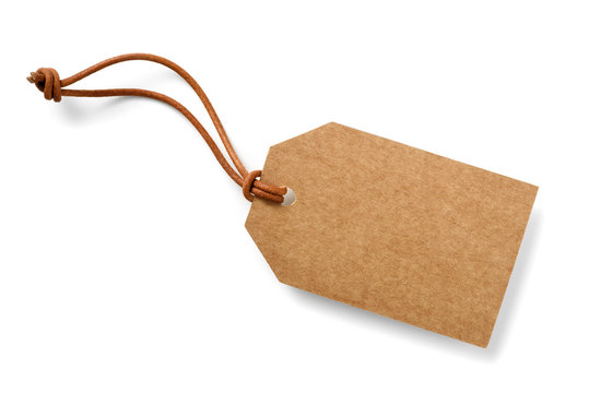 cardboard labek with slim leather cord,isolated