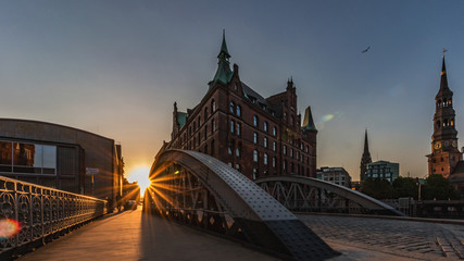 Speicherstadt in Hamburg, beautiful Sun