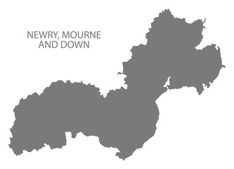 Newry, Mourne and Down map grey