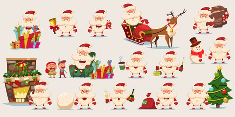 Funny Santa Claus vector cartoon big character set. Christmas icon isolated on a white background.