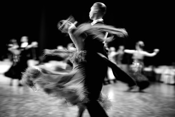 ballroom dance couple dancers waltz blurred motion black-and-white