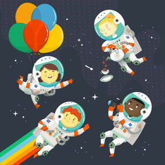 Set of kids in space suit floating in the sky near stars having fun at a cosmic birthday party.
