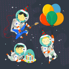 Children astronauts wearing space suits and party hats floating in outer space. Birthday party in cosmic style.