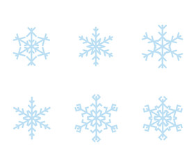 Set of vector snowflake symbols.