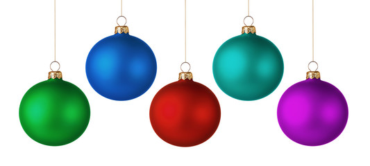 Set of colorful christmas balls isolated on white background