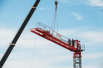 Assembly of a construction crane.