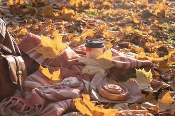 Autumn picnic flat lay