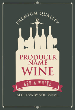 Vector label for red and white wine with the silhouette of a still life from wine bottles and glasses in retro style on the dark background.