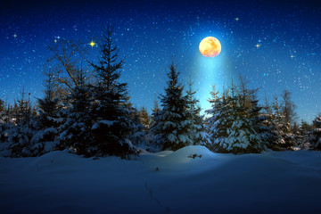 Keuken foto achterwand Nacht Christmas background with stars and big moon in winter forest.