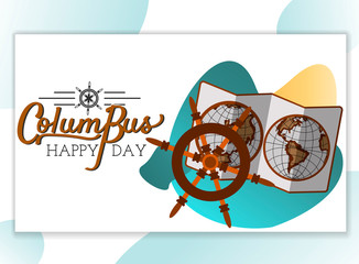 Columbus Day poster with map and helm symbol, lettering text logo design for greeting card