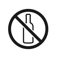 No drinking sign silhouette. Clipart image isolated on white background
