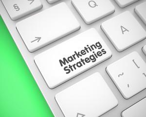 Marketing Strategies - Inscription on White Keyboard Key. 3D.