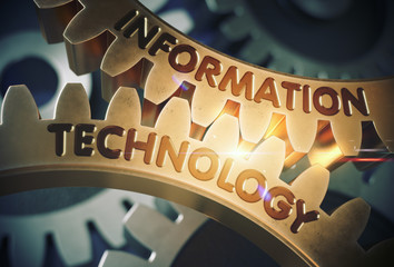 Information Technology on the Golden Gears. 3D Illustration.