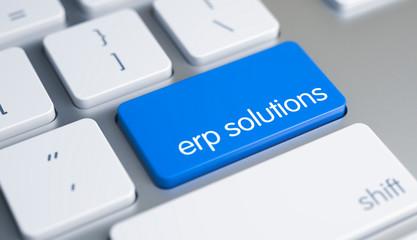 ERP Solutions - Inscription on Blue Keyboard Key. 3D.