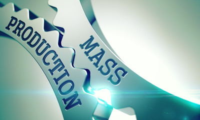 Mass Production - Mechanism of Shiny Metal Cog Gears . 3D .