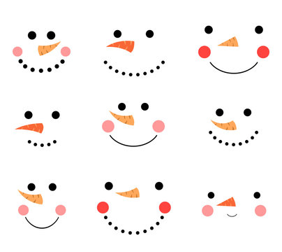 Cute and funny vector snowman face icons