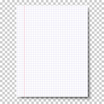 Notebook checkered sheet of paper placed vertically isolated on transparent background. Vector paper template.