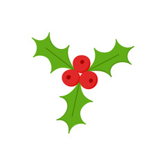 Christmas mistletoe vector illustration icon. Festive, seasonal, holiday xmas mistletoe plant symbol, isolated.