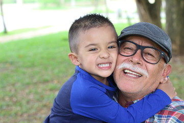 Grandfather having a fun with his grandson