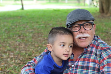 Tender image of grandparent with grandson