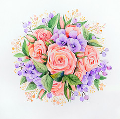 Original watercolor - a bouquet of pink roses and lilac hydrangeas on a white background