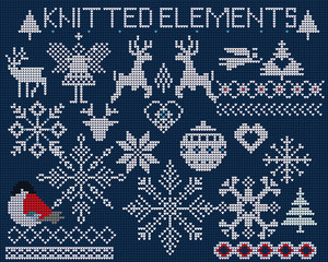 Set of knitted elements, ornaments, snowflakes and other Christmas decoration on blue background