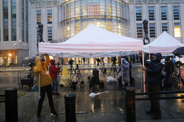 "Media members set up tent outside the Brooklyn Federal Courthouse ahead of trial of Joaquin Guzman known as ""El Chapo"" in New York"