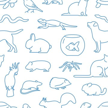 Monochrome seamless pattern with pets drawn with contour lines on white background. Backdrop with domestic animals. Vector illustration in linear style for wrapping paper, wallpaper, textile print.