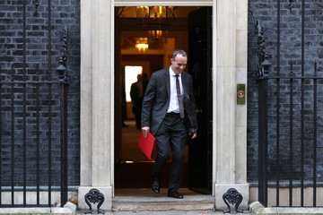 Britain's Secretary of State for Exiting the EU Dominic Raab leaves 10 Downing Street, London