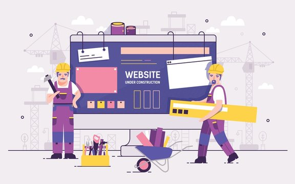 Pair of servicemen or repairmen holding and carrying repair tools against computer monitor on background. Concept of website under construction, web page maintenance or error 404. Vector illustration.