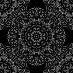 Floral Geometric Pattern with hand-drawing seamless. illustration. For fabric, textile, bandana, pillowcarpet print.