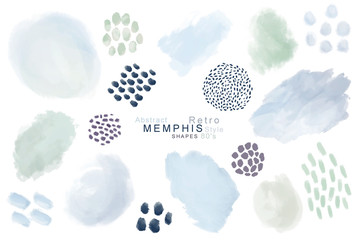 Hand painted fashionable brush shapes, dot memphis fashion style set on white background