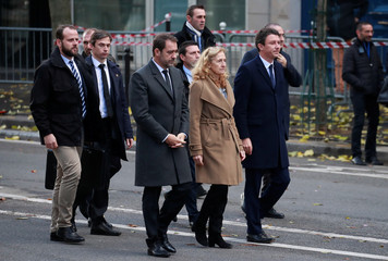 French Interior Minister Christophe Castaner, French Justice Minister Nicole Belloubet and Government spokesperson Benjamin Griveaux arrive at the Bataclan concert venue during a ceremony marking the third anniversary of the Paris attacks