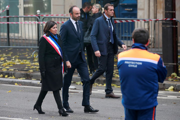 French Prime Minister Edouard Philippe and Paris Mayor Anne Hidalgo arrive at the Bataclan concert venue during a ceremony marking the third anniversary of the Paris attacks