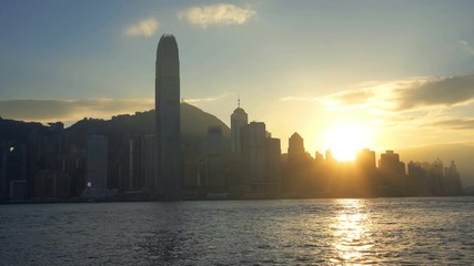 Fototapete - Footage of Beautiful sunset at Hong Kong.