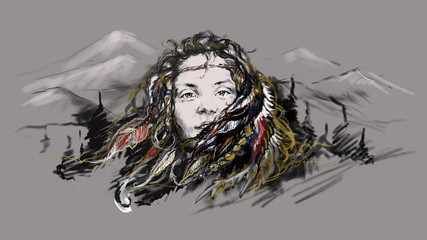 Illustration portrait of a beautiful young girl sorceress shaman, goddess, spirit of the forest. Colored feathers in lush hair, against a landscape of mountains and forests. Color pupils,  bright eyes