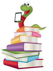 Bookworm on stack of books with tablet computer