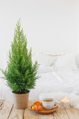Little Christmas tree in a pot, wooden plate with cup of tea, tangerines and  lighted candle standing on a wooden tray near bed. Home christmas decor. White cozy modern bedroom with holiday decoration